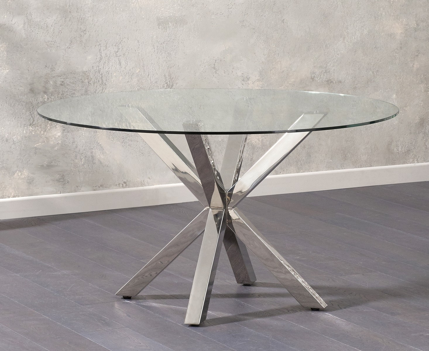 Remus Clear Glass Round Dining Table