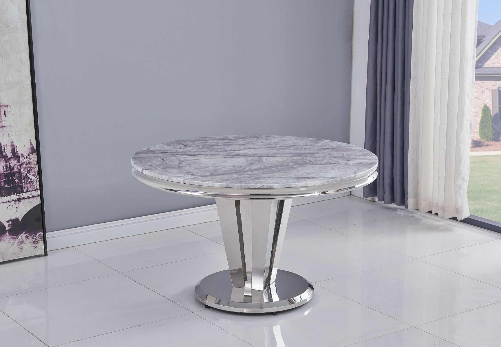 Riccardo Grey Round 130cm Marble Dining Table