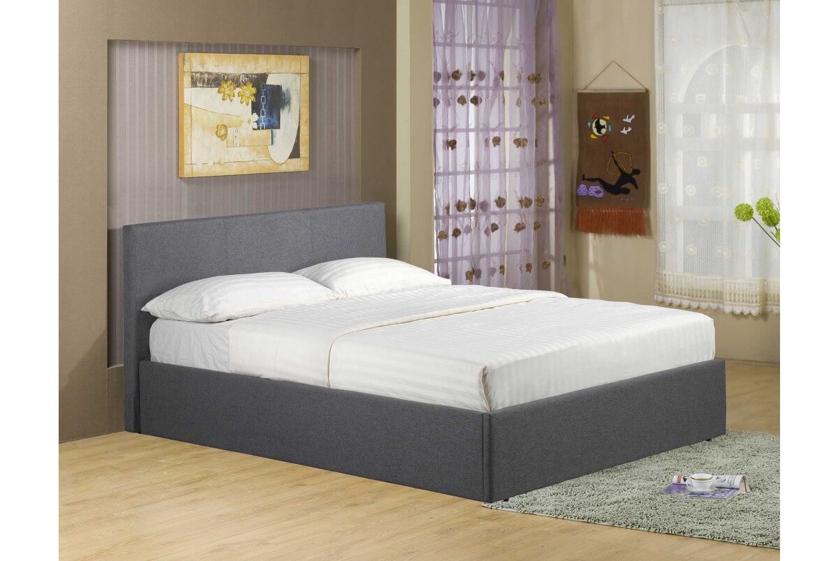 Richworth 4ft6 Double Grey Linen Fabric Ottoman Bed