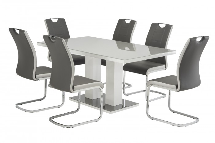 Riley Grey High Gloss 160cm Rect. Dining Table with 6 Venice Chairs