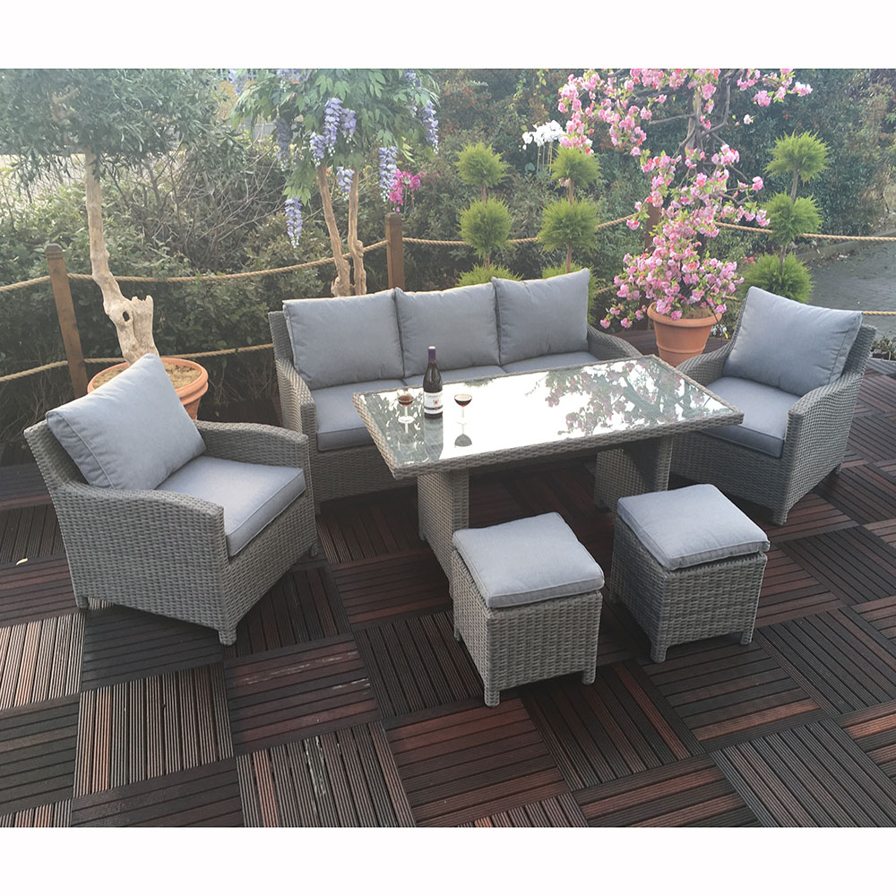 Royalcraft Windsor 6pc 3 Seat Rattan Sofa Dining Set with 2 Stools