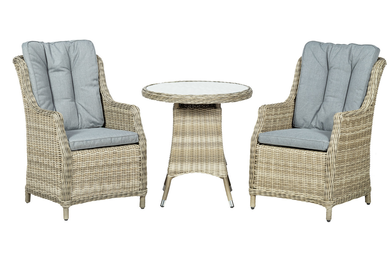 Royalcraft Wentworth 2 Seater Highback Round Rattan Bistro Set with WS Cushions