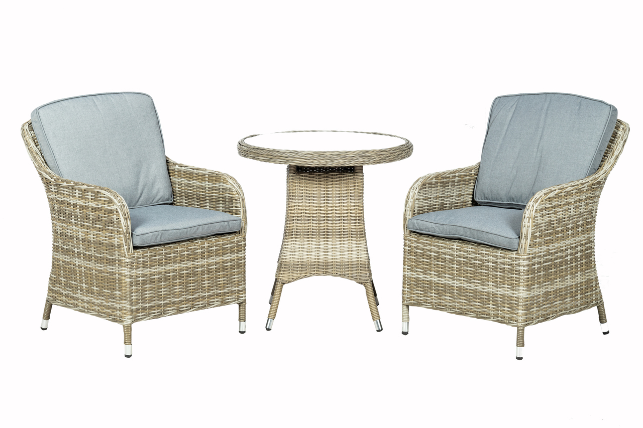 Royalcraft Wentworth 2 Seater Round Imperial Rattan Bistro Set with WS Cushions