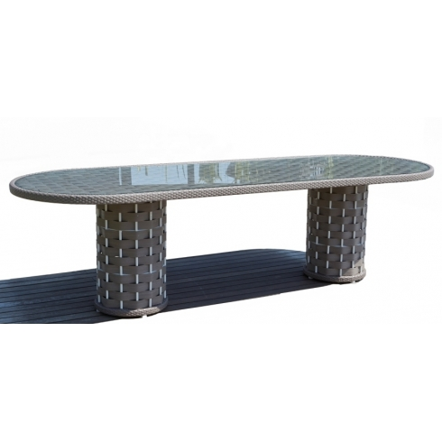 Skyline Strips Rattan 8 Seater Oval Dining Table