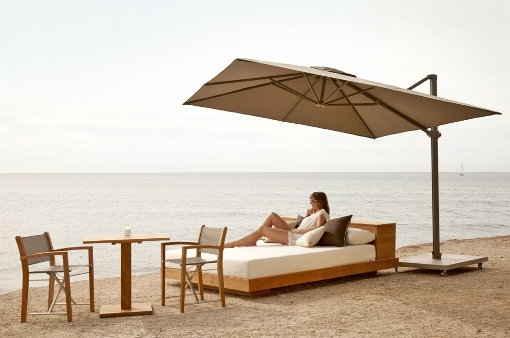 Skyline Aruba Taupe Cantiliver 3M Square Parasol With Base And Cover