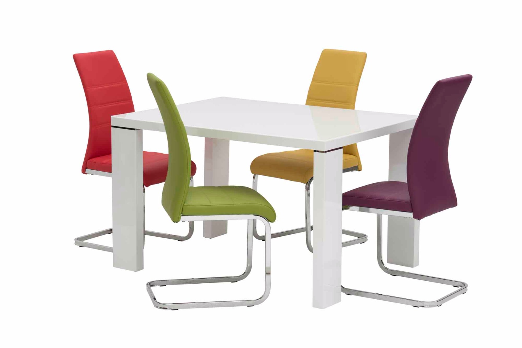 Soho White Gloss 120cm Rectangular Dining Table With 6 Soho Yellow Leather Dining Chair