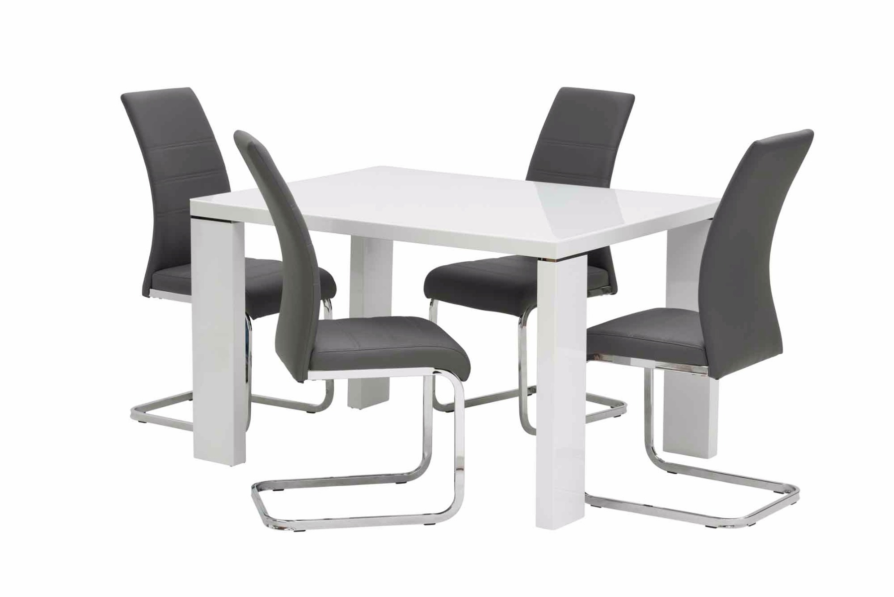 Soho White Gloss 120cm Rectangular Dining Table With 4 Soho Grey Leather Dining Chair