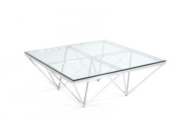 Photo of Serene star glass top square stainless steel coffee table