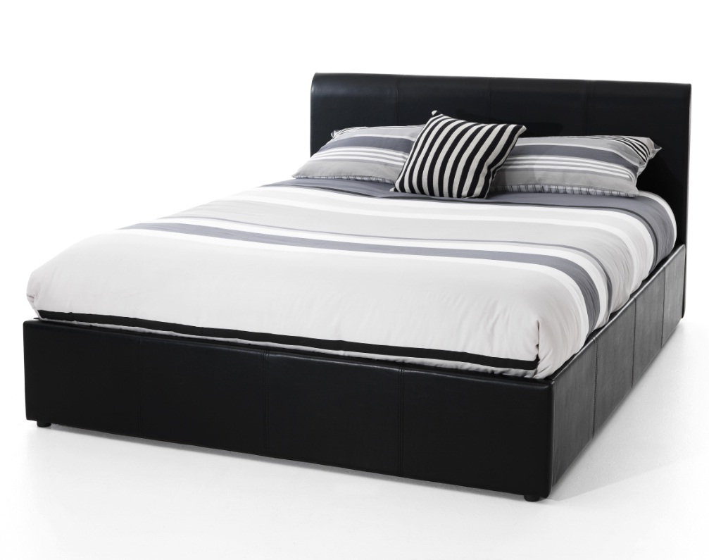 Serene Tuscany Ottoman 4ft Small Double Black Leather Bed