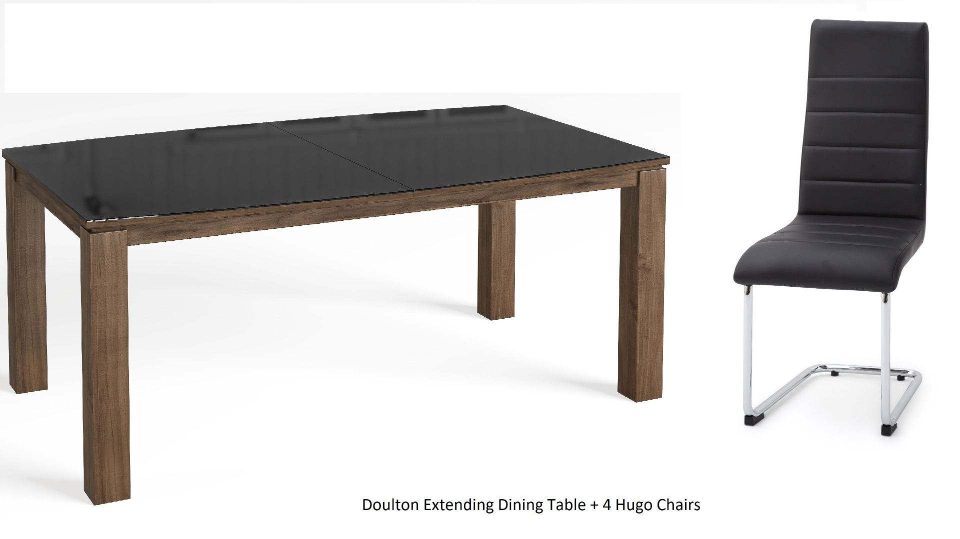 Fairmont Doulton Walnut/Black Ext. Dining Table with 4 Hugo