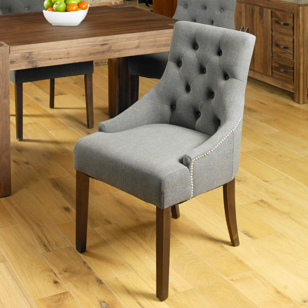 Shiro Walnut Accent Stone Upholstered Dining Chair Pair