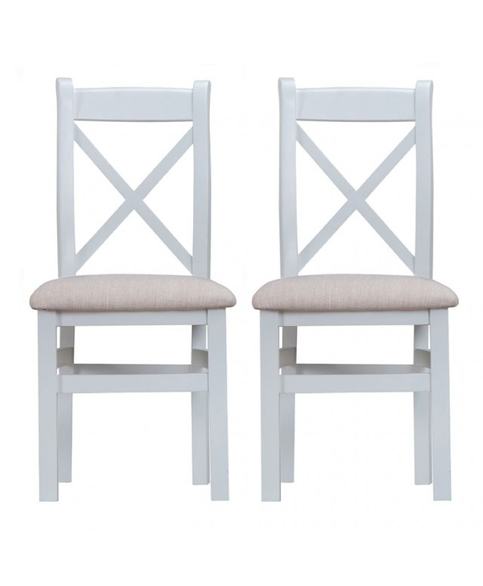 Titanic Cross Back Fabric Seat Grey Oak Dining Chair