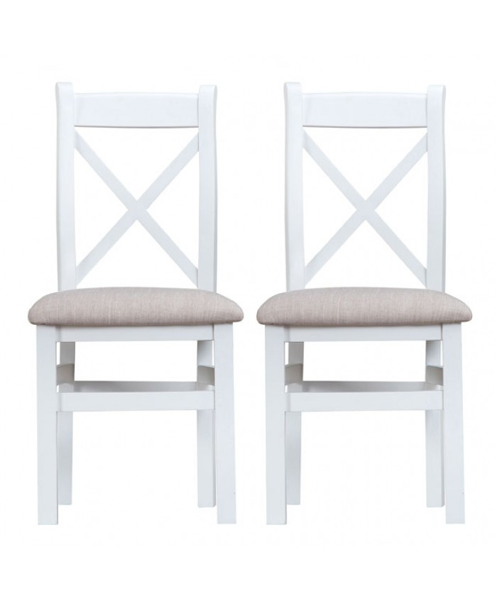 Titanic Cross Back Fabric Seat White Oak Dining Chair