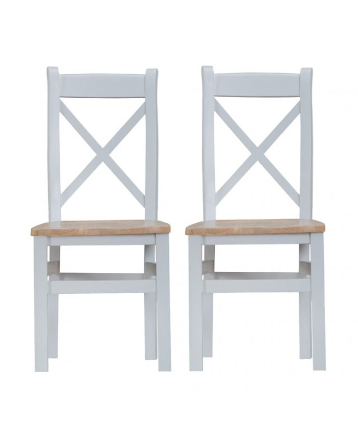 Titanic Cross Back Grey Oak Wooden Seat Dining Chair