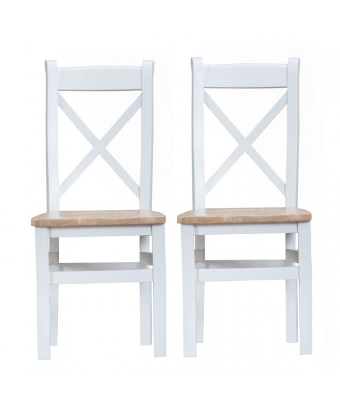 Titanic Cross Back White Oak Wooden Seat Dining Chair