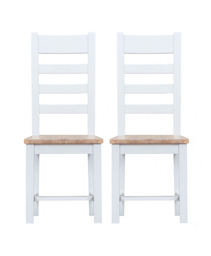 Titanic Ladder Back White Oak Wooden Seat Dining Chair