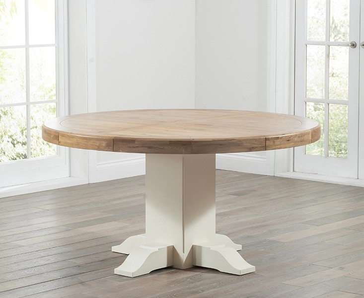 Turin 150cm Solid Oak & Cream Round Dining Table
