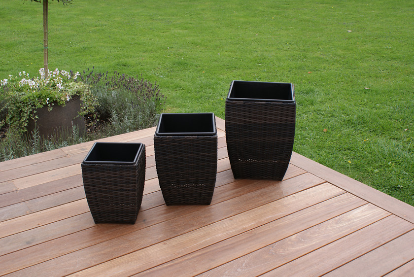 Maze Set of 3 Shaped Rattan Planters - Brown