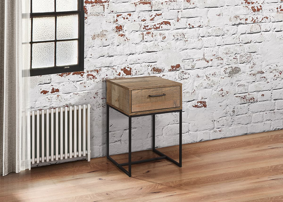 Urban rustic wooden 1 drawer narrow bedside