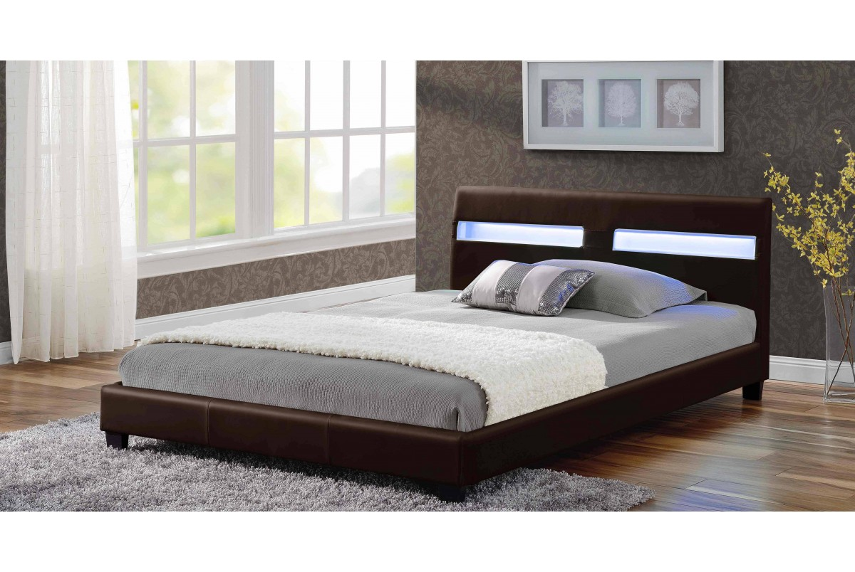Photo of Vermont 4ft6 double brown leather led bed