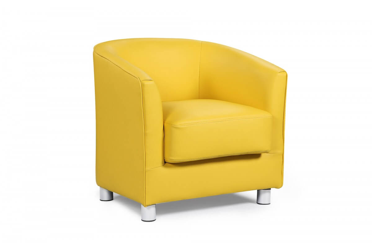Vegreville Yellow Leather Tub Chair