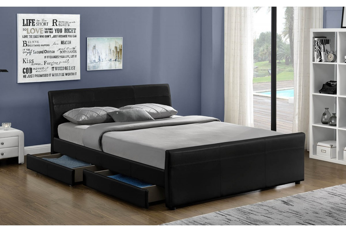 Vancouver Black 4ft6 Double Faux Leather 4 Drawer Storage Bed