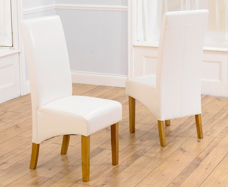 Venice Ivory Leather Dining Chairs With Solid Oak Legs - Pair