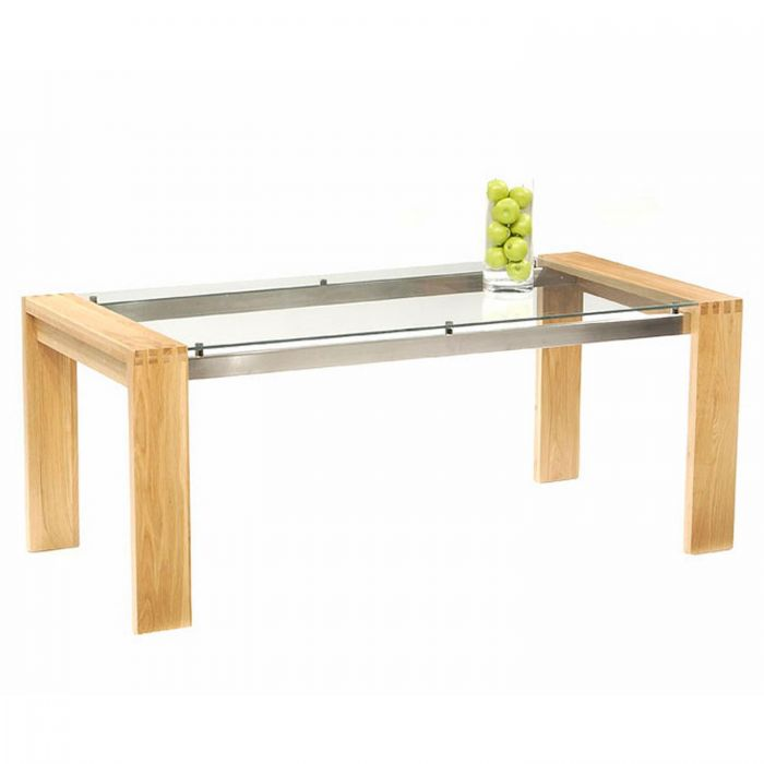 Roma Solid Oak Dining Table With Chrome Struts and Glass Top