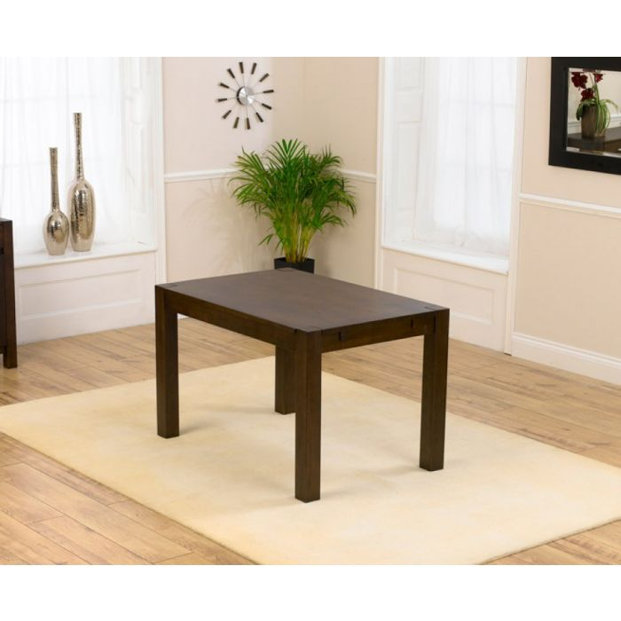Verona Dark Brown Solid Oak Dining Table in a Fingerjoint Style Small