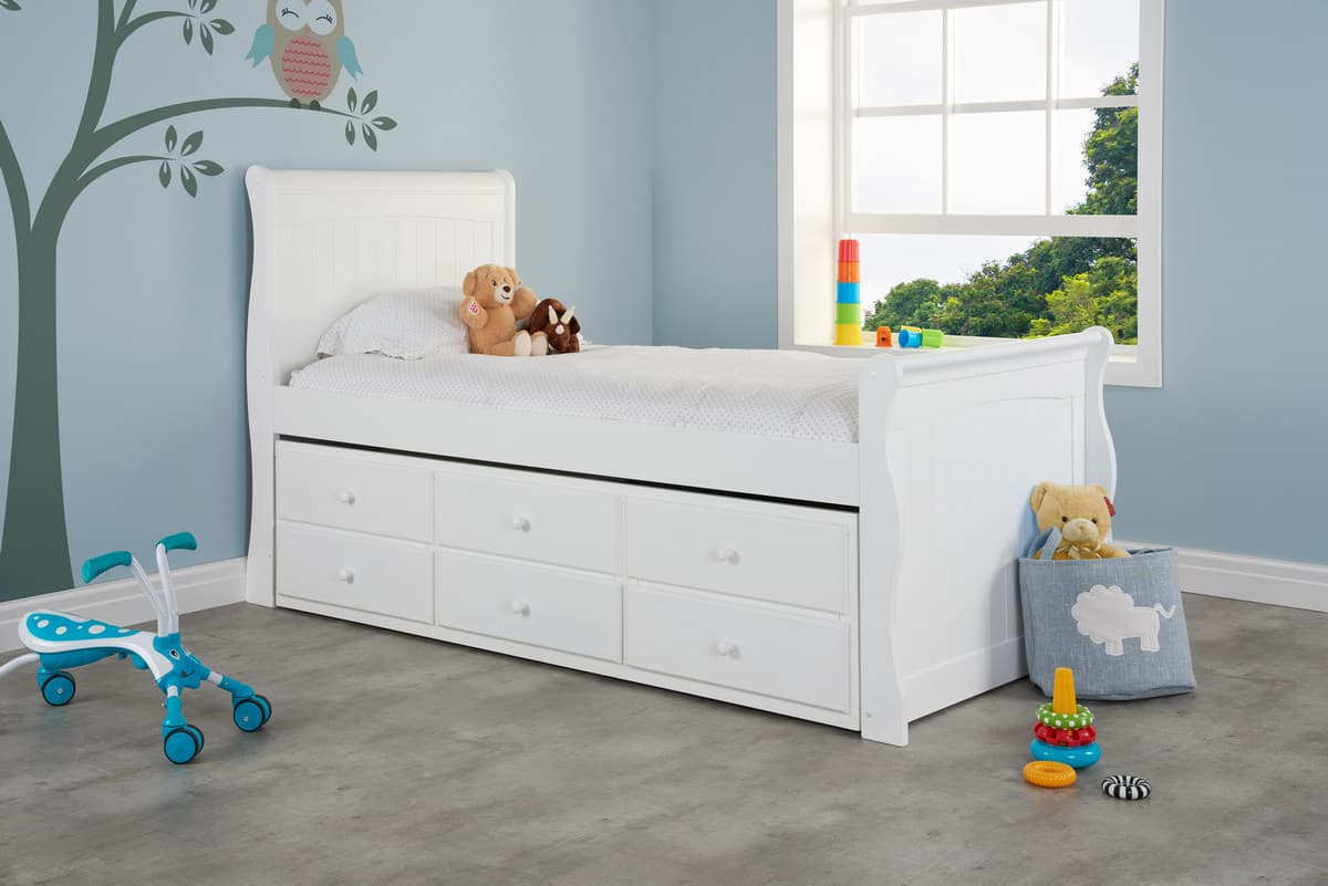 Verona White Wooden 3ft Single Cabin Bed