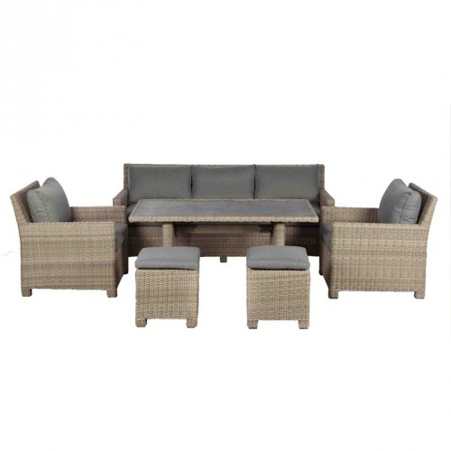 Royalcraft Wentworth Rattan Dining Sofa Suite Set with 2 Footstools