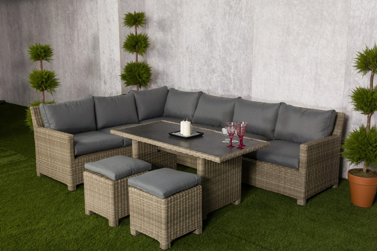 Royalcraft Wentworth Rattan Corner Dining Sofa Set with 2 Footstools