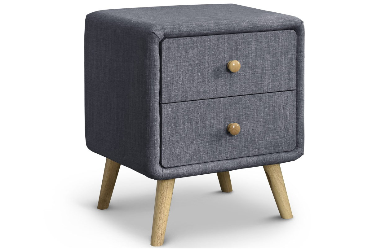 Windsor CHARCOAL FABRIC BEDSIDE TABLE